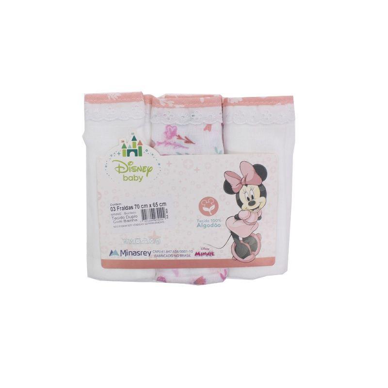 Kit Fralda Com Bainha Disney Baby Minnie - Minasrey