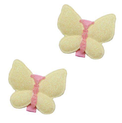 Kit laços borboleta amarelo e rosa 2 pçs