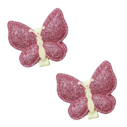 Kit laços borboleta Glitter rosa escuro 2 pçs