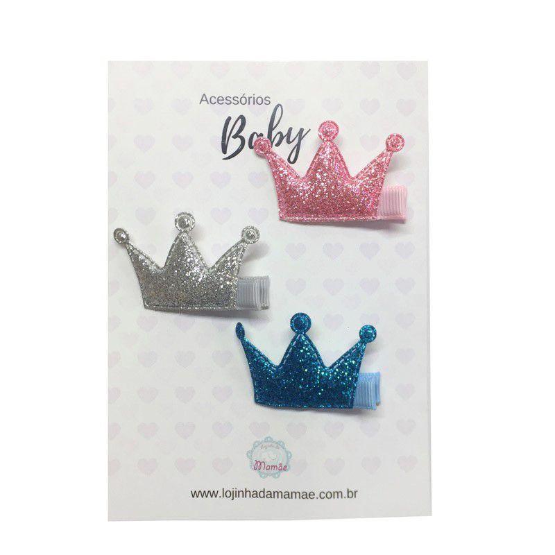Kit laços de cabelo baby coroa glitter - 3pçs