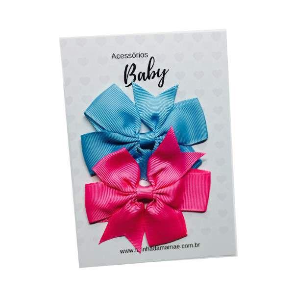 Kit Laços de cabelo com elástico azul/pink - Baby