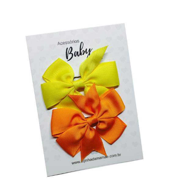 Kit Laços de cabelo com elástico laranja/amarelo - Baby