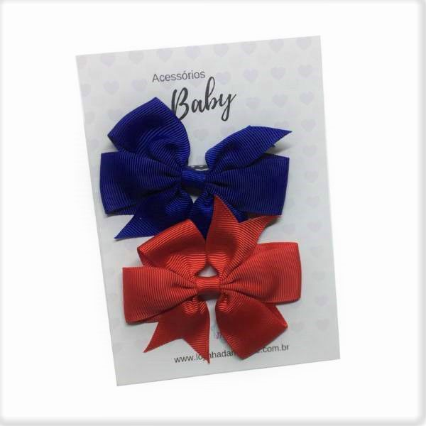 Kit Laços de cabelo com elástico marinho/vermelho - Baby
