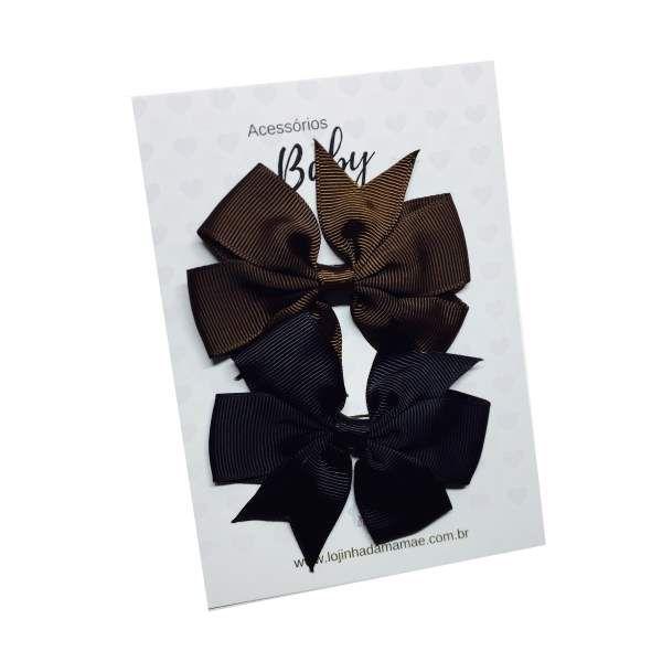 Kit Laços de cabelo com elástico marrom/preto - Baby