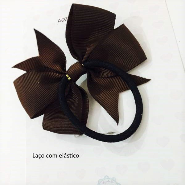 Kit Laços de cabelo com elástico nude/branco - Baby