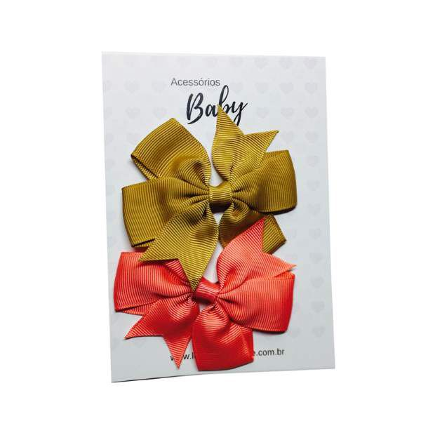 Kit Laços de cabelo com elástico ouro/coral - Baby