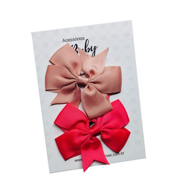 Kit Laços de cabelo com elástico rosa antigo/pink  - Baby