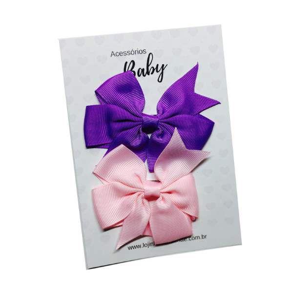 Kit Laços de cabelo com elástico roxo/rosa - Baby