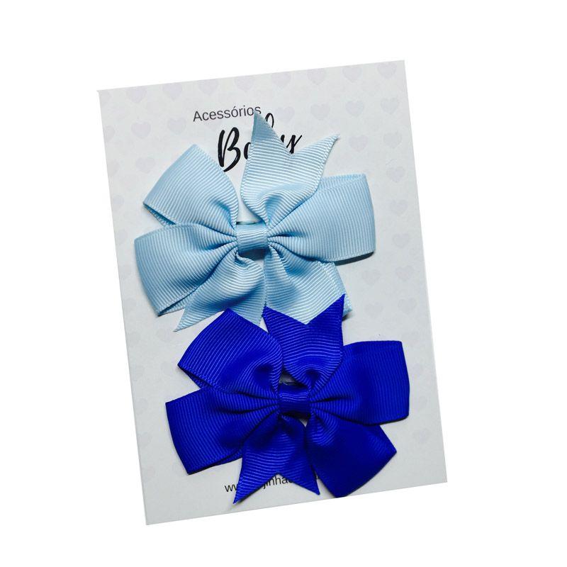 Kit Laços de cabelo com elástico tons de azul - Baby