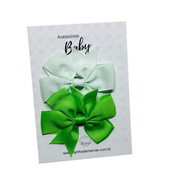 Kit Laços de cabelo com elástico tons de verde - Baby