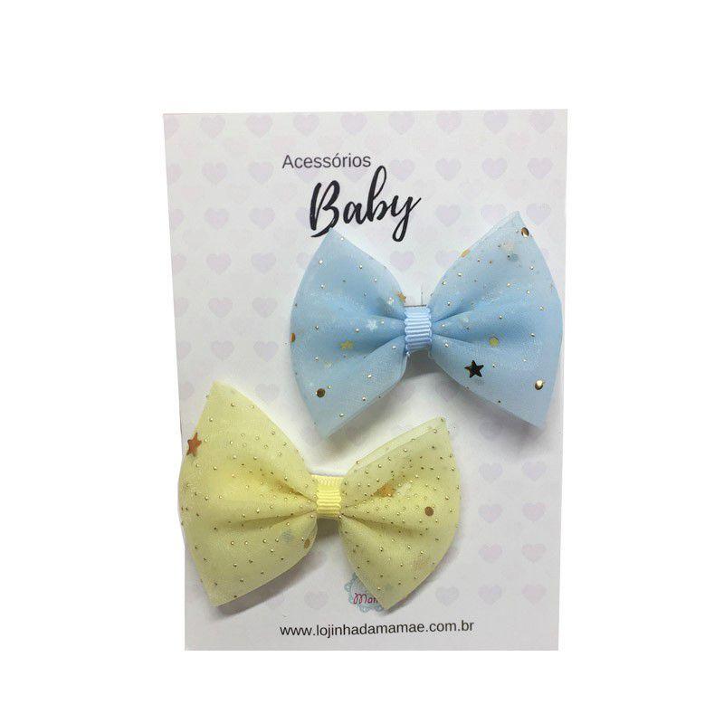 Kit Laços de cabelo voal azul/amarelo - Baby