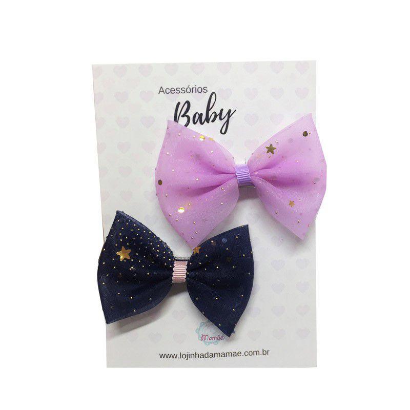 Kit Laços de cabelo voal marinho/lilás - Baby