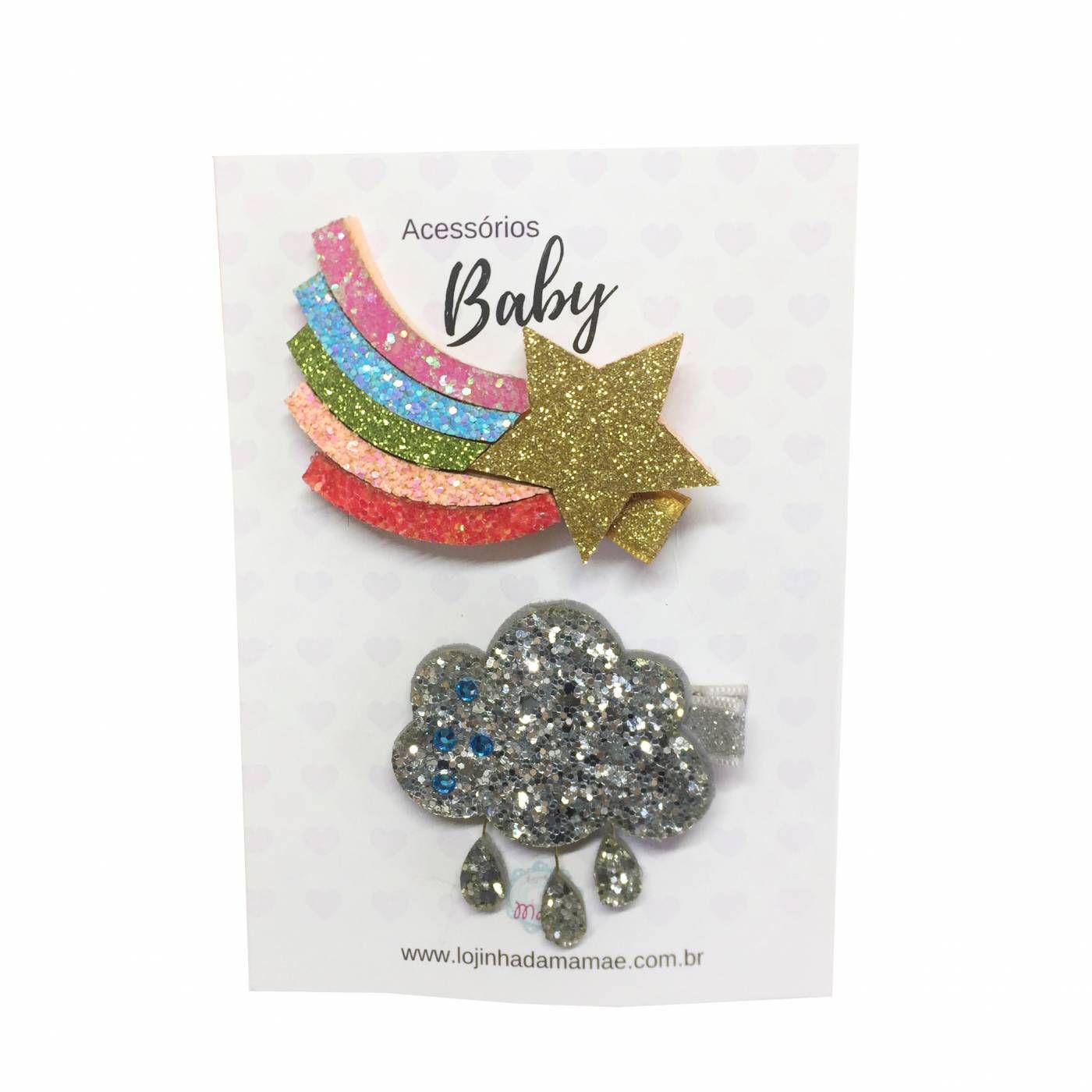 Kit laços Glitter estrela e nuvem 2 pçs - Baby