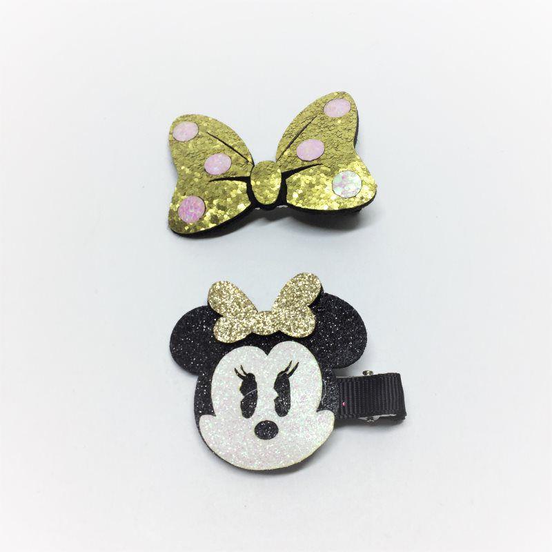 Kit laços Glitter Minnie Dourado 2 pçs