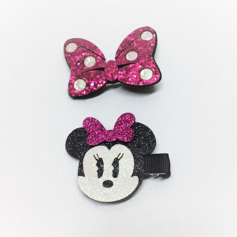 Kit laços Glitter Minnie Pink 2 pçs