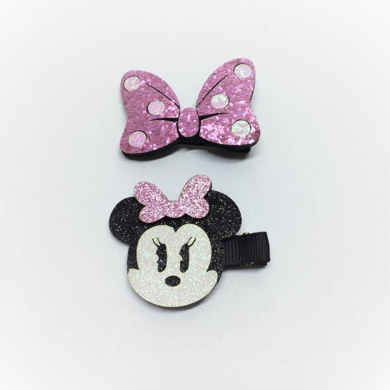 Kit laços Glitter Minnie Rosa 2 pçs