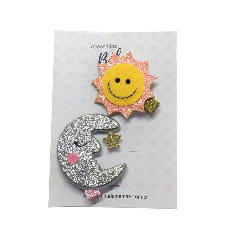 Kit laços Glitter Sol e Lua 2 pçs - Baby