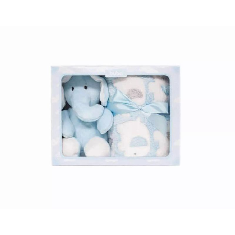 kit Manta Presente Elefante Azul - Buba Baby