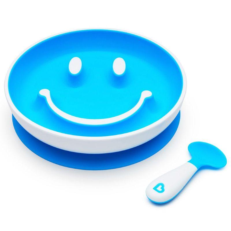 Kit Prato Smile com Ventosa e Colher Azul - Munchkin