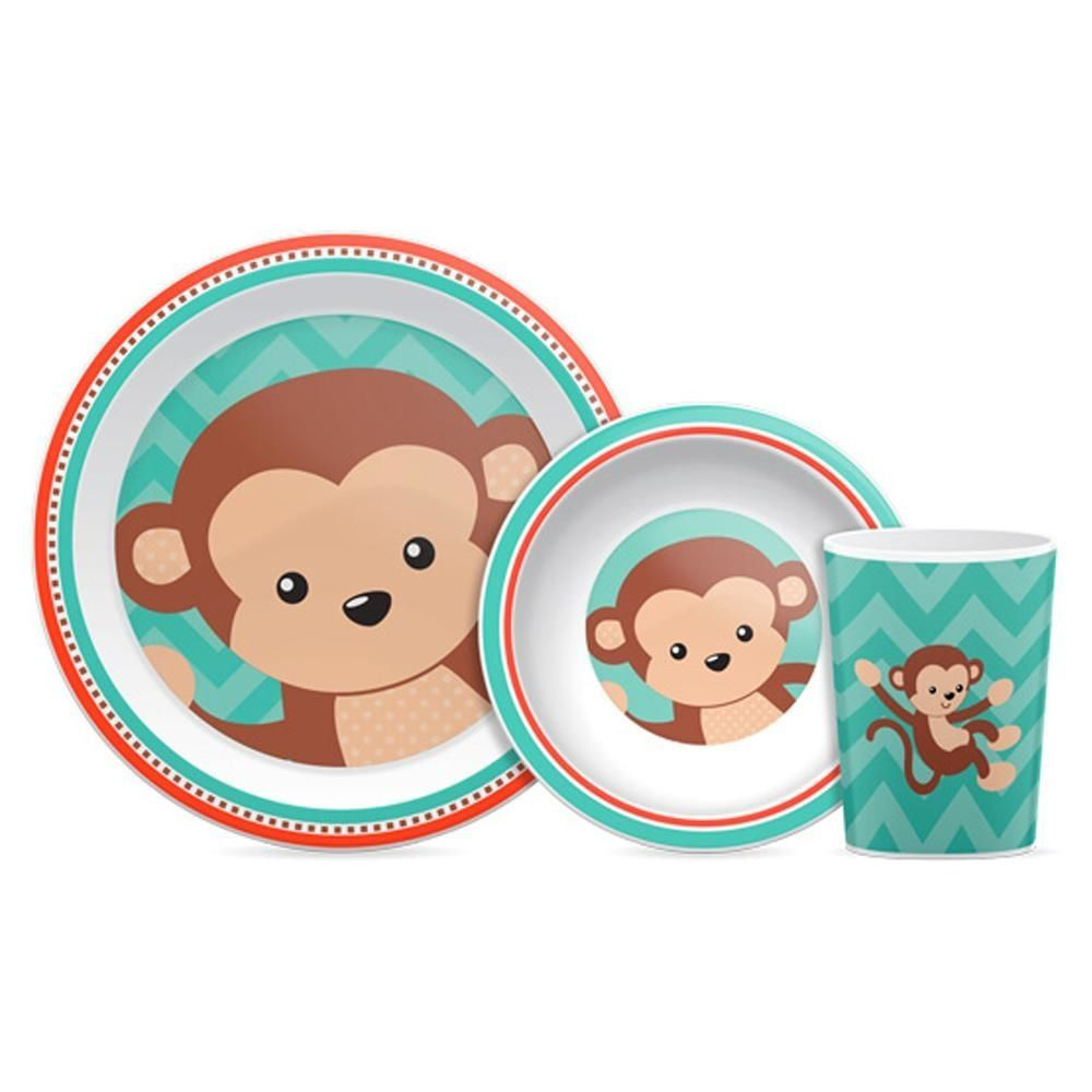 Kit refeição Animal Fun Macaco - Buba Baby