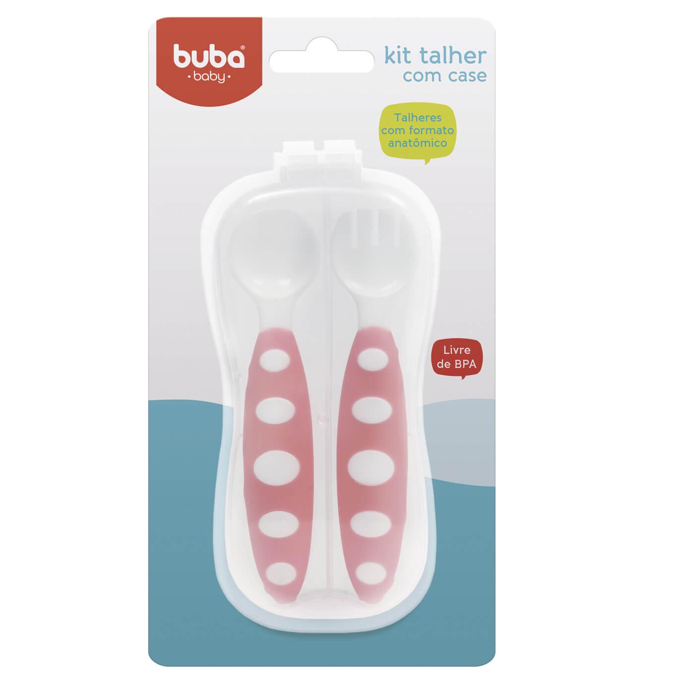 Kit Talher Rosa com Case - Buba Baby