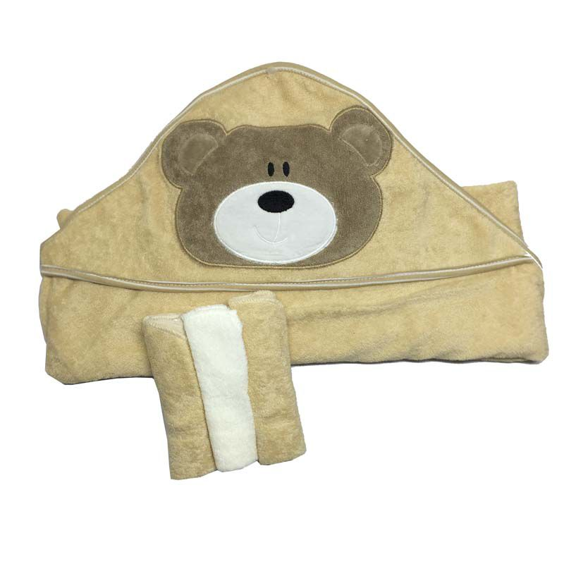 kit Toalha com Capuz e Toalhinhas de Boca Urso - Zip Toys