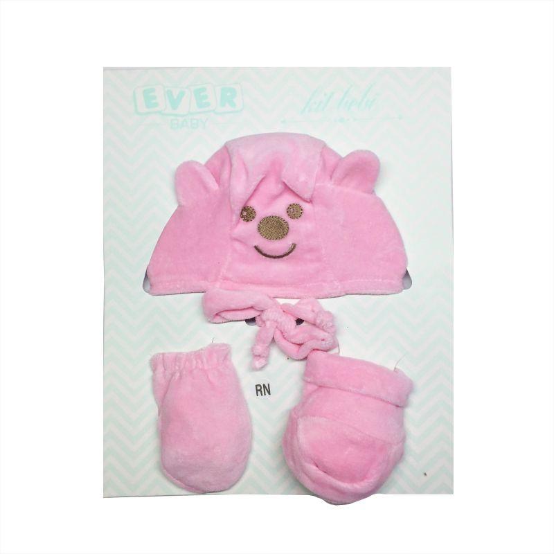 Kit Touca, Luva e Pantufa Rosa -  Ever Baby - RN 0 a 3 meses