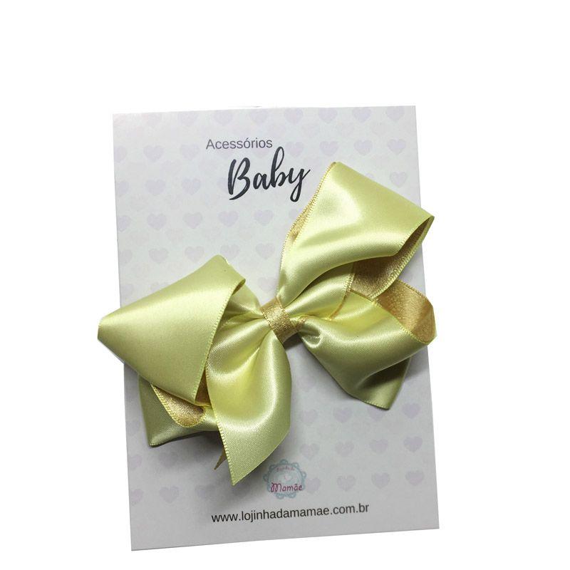 Laço de cabelo 10cm amarelo - Baby