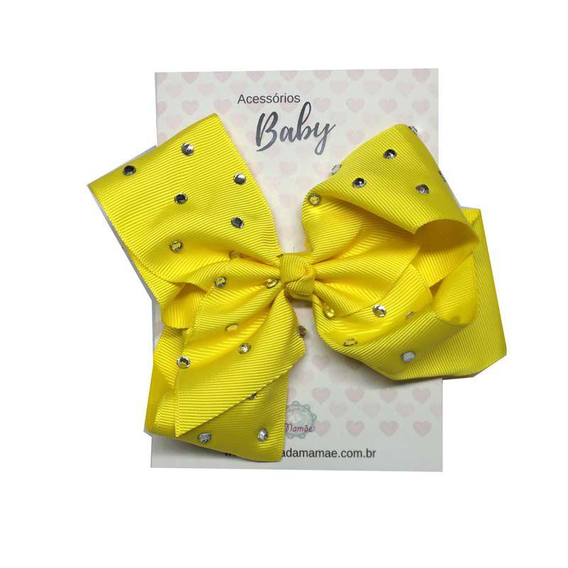 Laço de Cabelo com Strass 15cm Amarelo - Baby