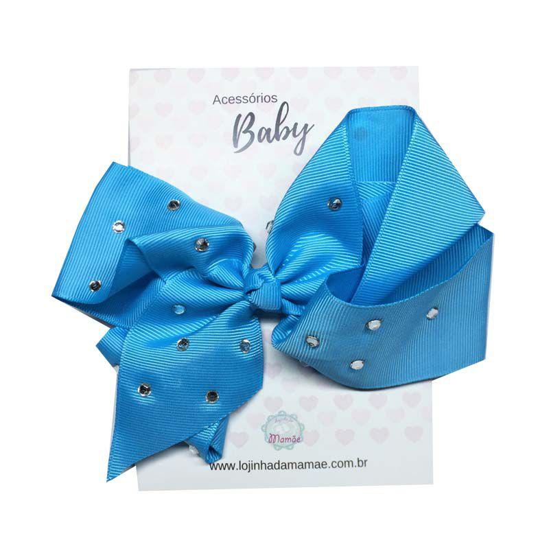 Laço de Cabelo com Strass 15cm Azul Céu - Baby
