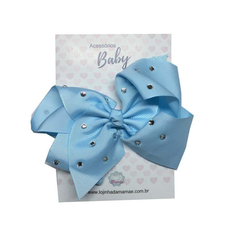 Laço de Cabelo com Strass 15cm Azul Claro - Baby