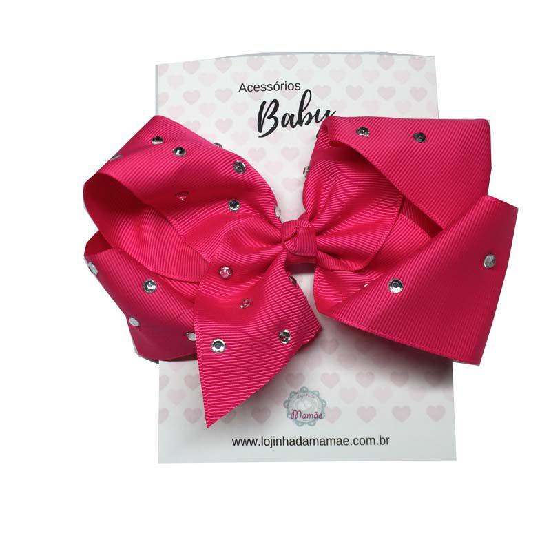 Laço de Cabelo com Strass 15cm Pink - Baby