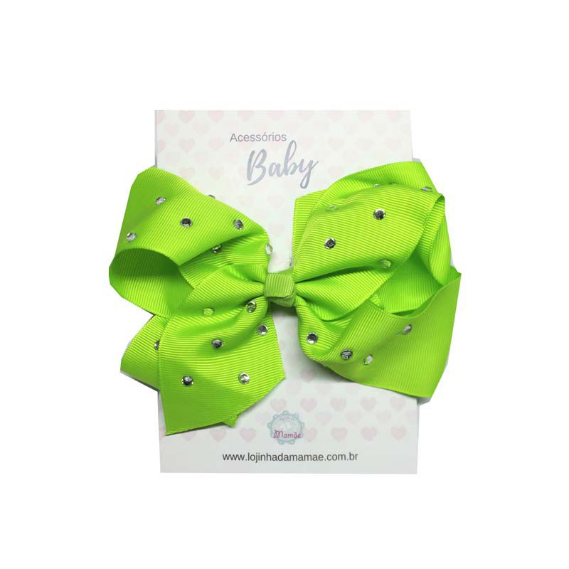 Laço de Cabelo com Strass 15cm Verde - Baby