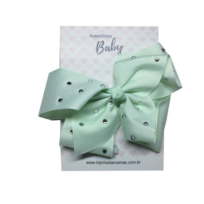 Laço de Cabelo com Strass 15cm Verde Claro - Baby
