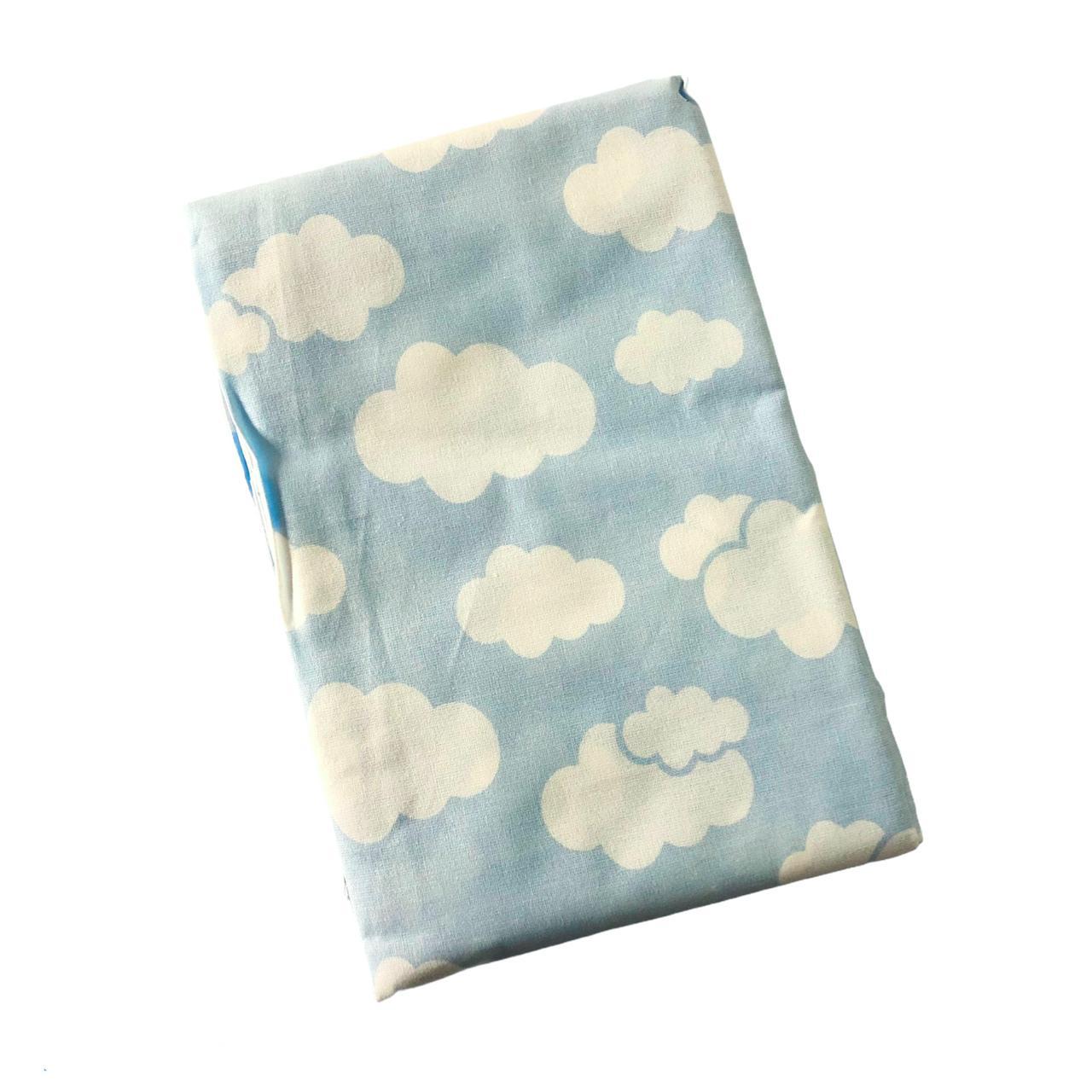 Lençol Berço Americano com Elástico Nuvem Azul Alvinha - Minasrey