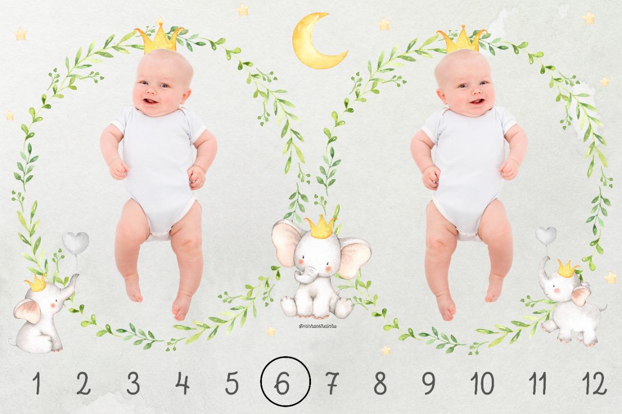 Lençol Cenário Foto Mêsversário Gêmeos - Minha Estrelinha