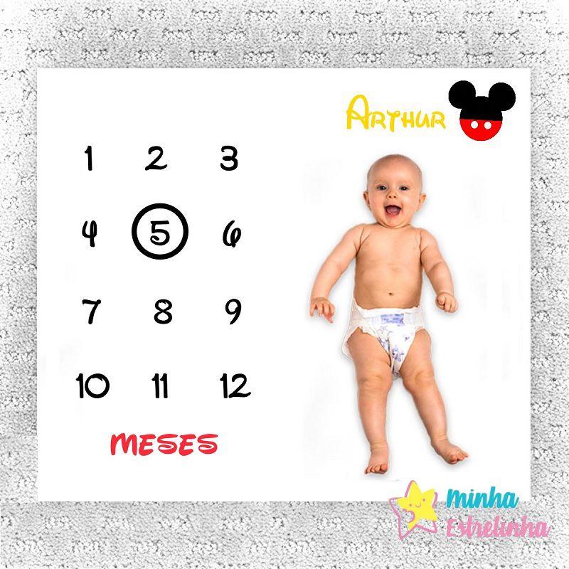 Lençol Mês Aniversário Mickey Personalizado - Minha Estrelinha