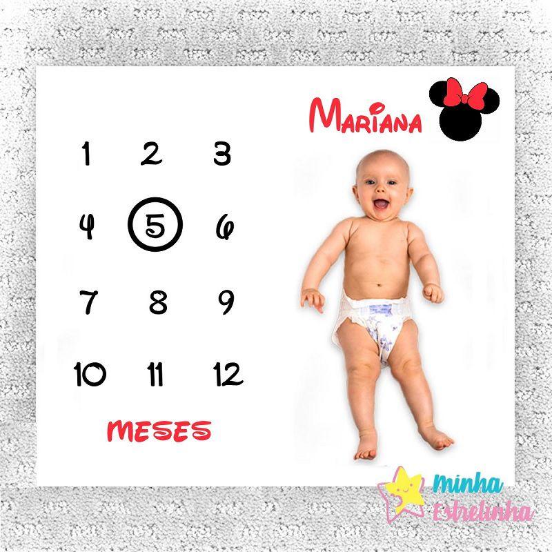 Lençol Mês Aniversário Minnie Personalizado - Minha Estrelinha