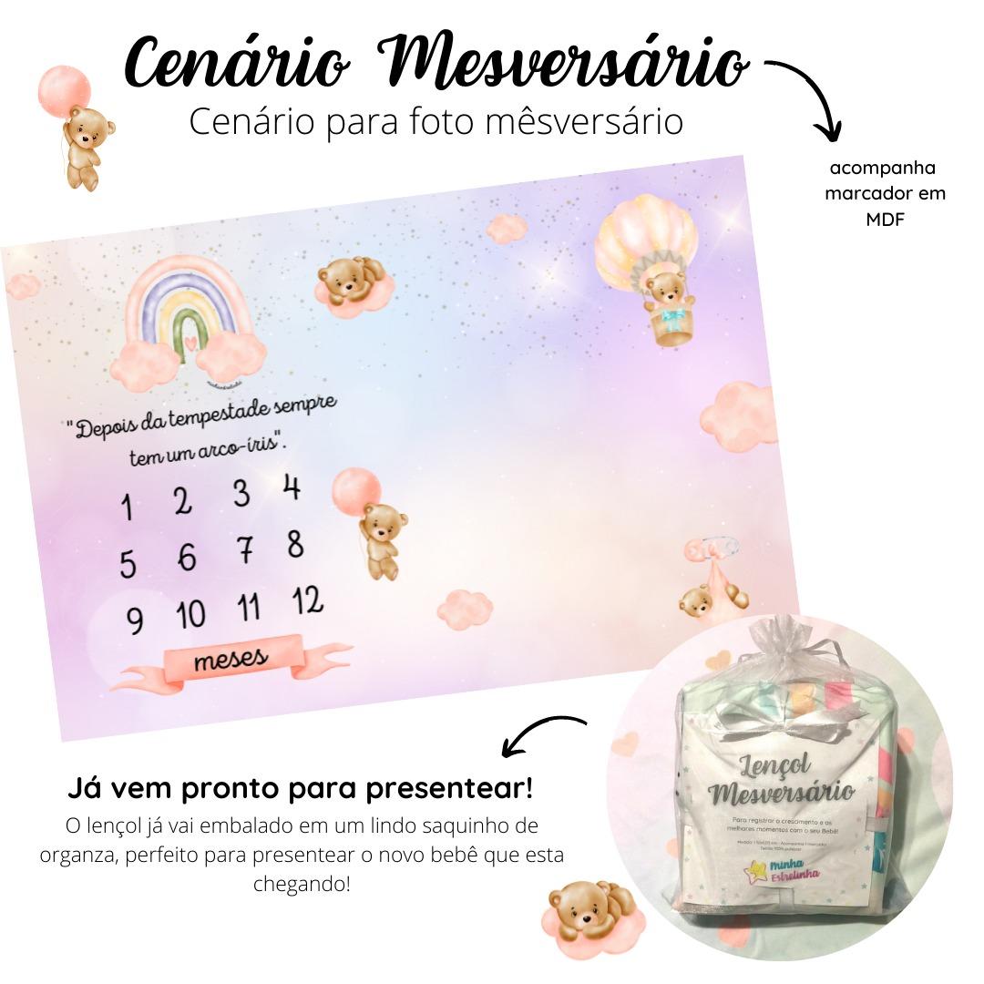 Lençol Mêsversário Cenário Para Fotos Bebê Ursinha Menina