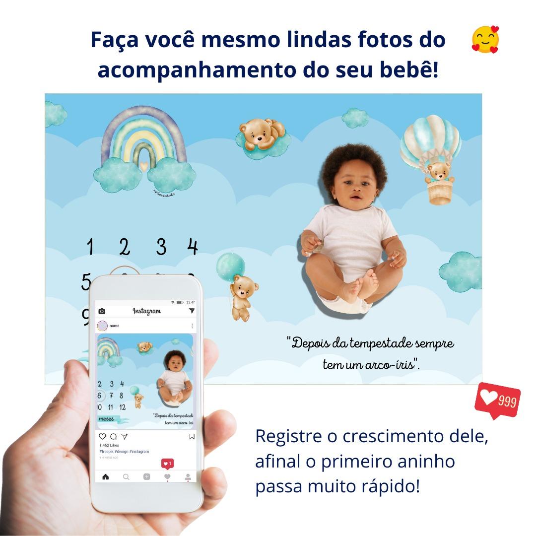 Lençol Mêsversário Cenário Para Fotos Bebê Ursinho Menino