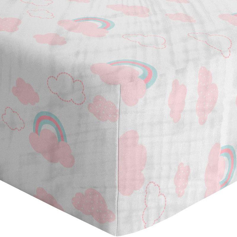Lençol soft Nuvens Rosa avulso - Papi Baby