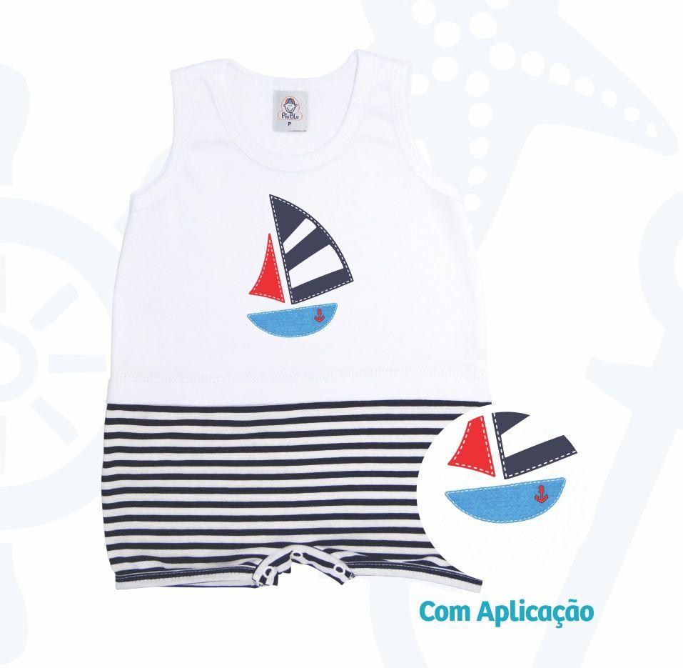 Macacão Curto Regatinha Tubarão  - Piu Blu - Tamanho RN