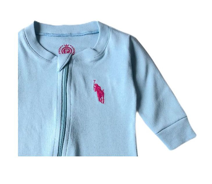Macacão Suedine Azul Cavalinho Rosa - Patrulha Street