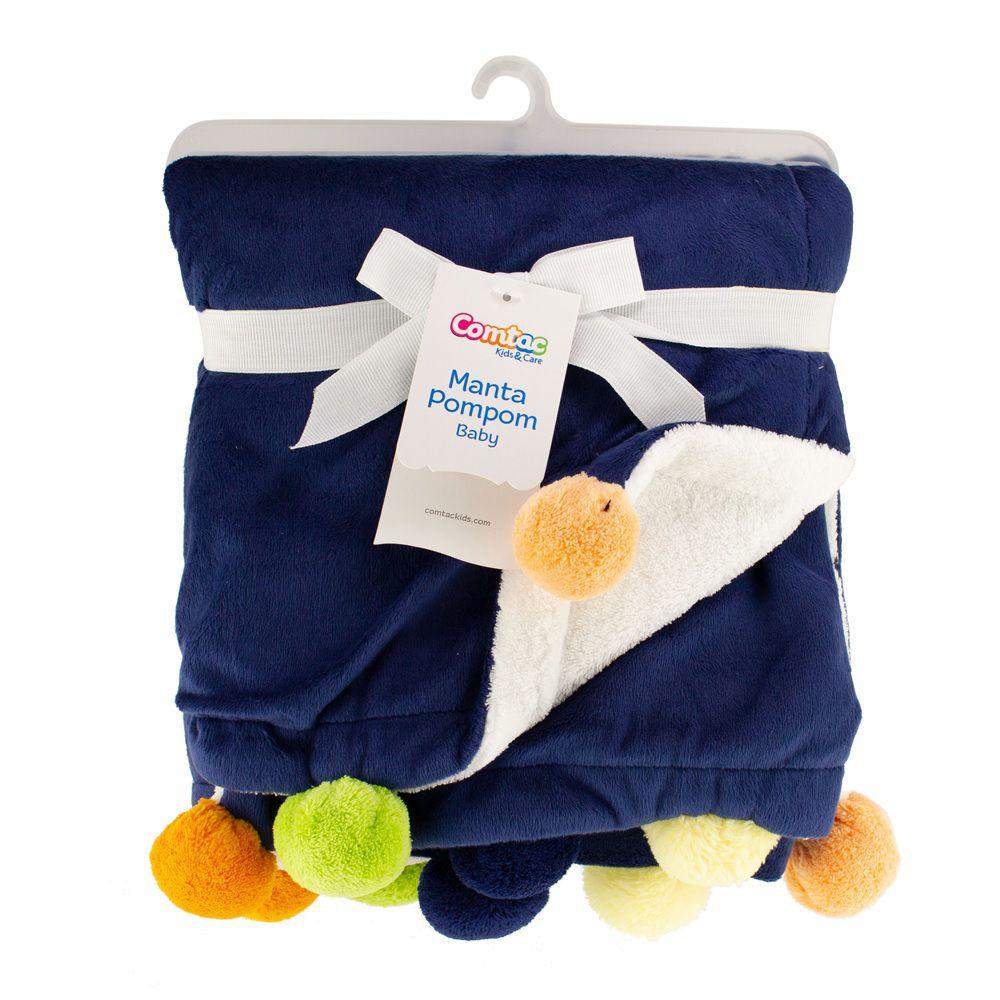 Manta Pompom Baby Azul - Comtac Kids