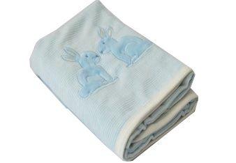Manta Zip Toys em Plush e Malha - Coelho Azul