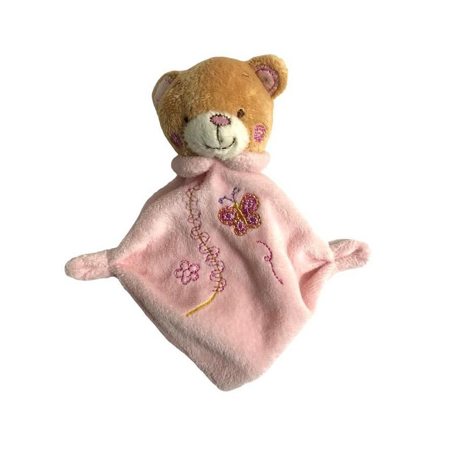 Mini Blanket de Bebê Urso Rosa - Zip Toys