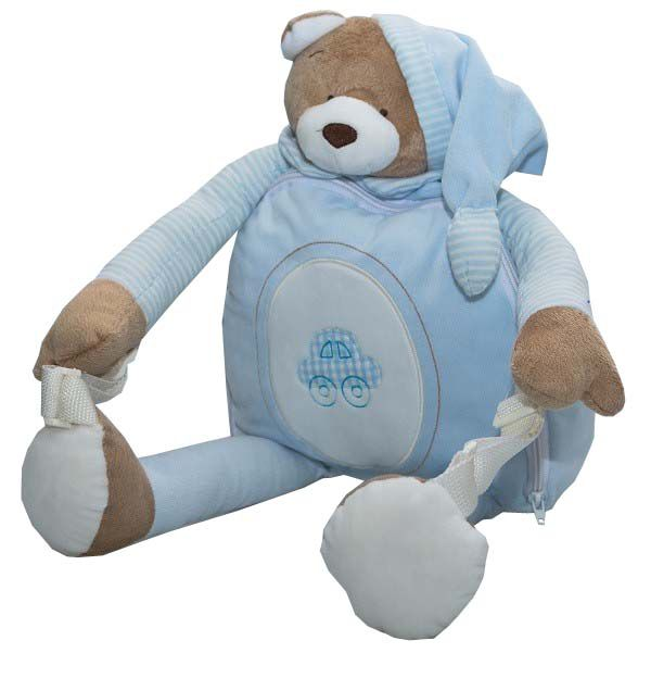 Mochila de Pelúcia Urso Azul - Zip Toys