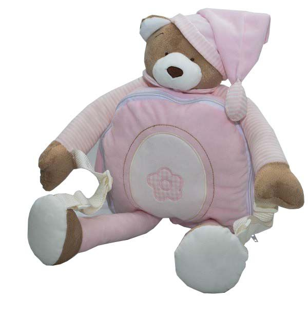 Mochila de Pelúcia Urso Rosa - Zip Toys