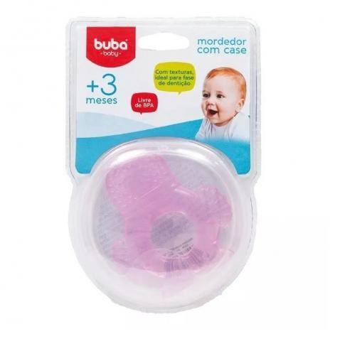 Mordedor macio com case pinguim rosa - Buba Baby