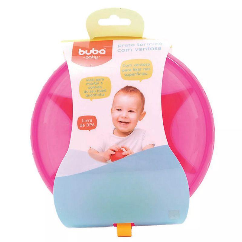 Prato Térmico com Ventosa Rosa - Buba Baby